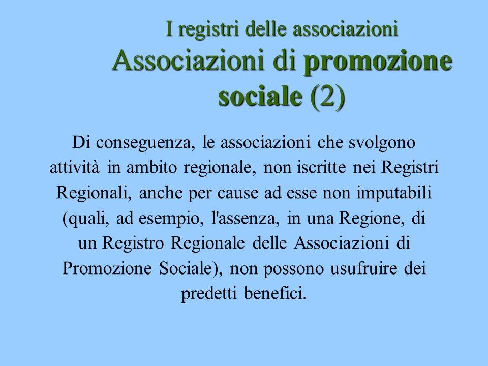 I registri delle associazioni Associazioni di promozione sociale (2)