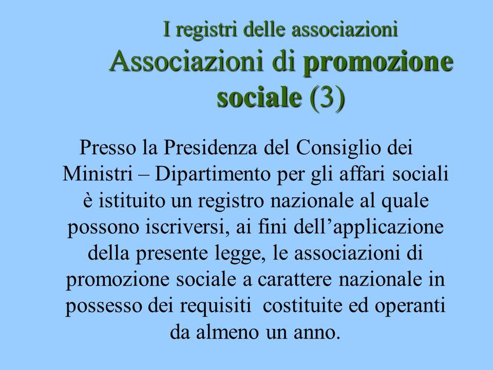 I registri delle associazioni Associazioni di promozione sociale (3)