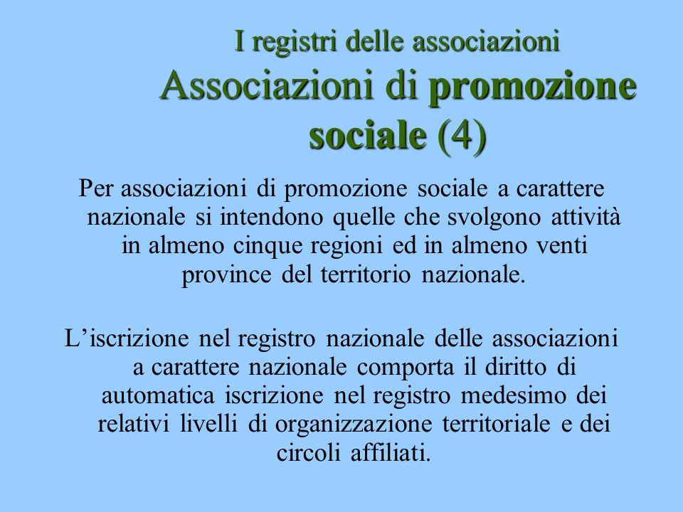 I registri delle associazioni Associazioni di promozione sociale (4)