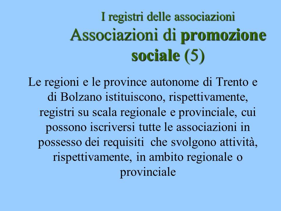 I registri delle associazioni Associazioni di promozione sociale (5)