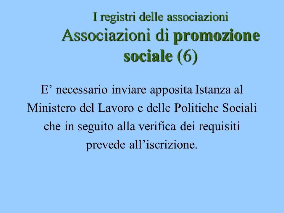 I registri delle associazioni Associazioni di promozione sociale (6)