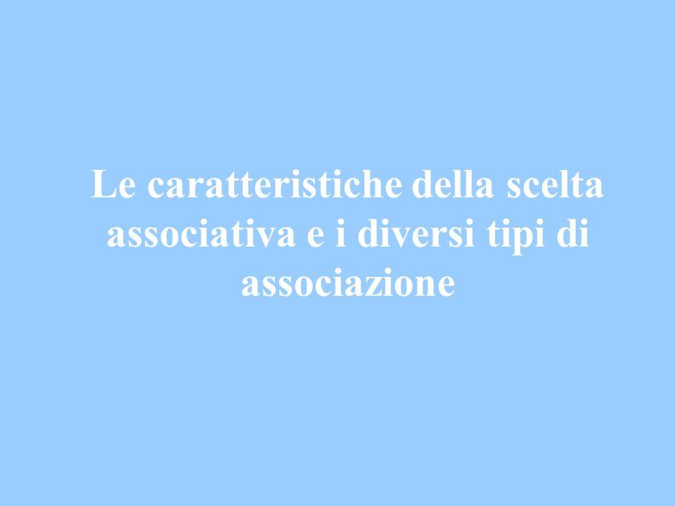 Le caratteristiche della scelta associativa e i diversi tipi di associazione
