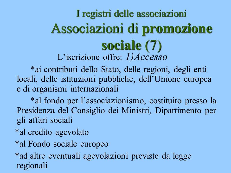 I registri delle associazioni Associazioni di promozione sociale (7)