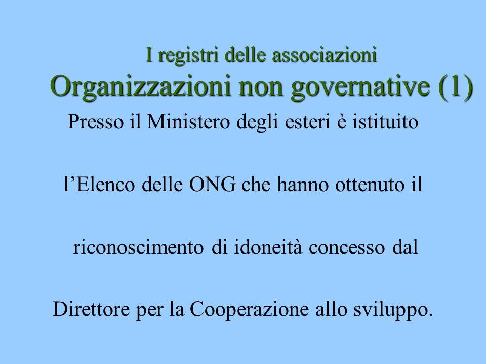 I registri delle associazioni Organizzazioni non governative (1)