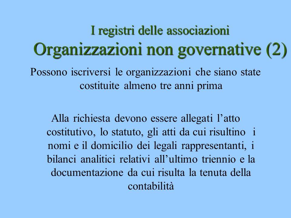 I registri delle associazioni Organizzazioni non governative (2)