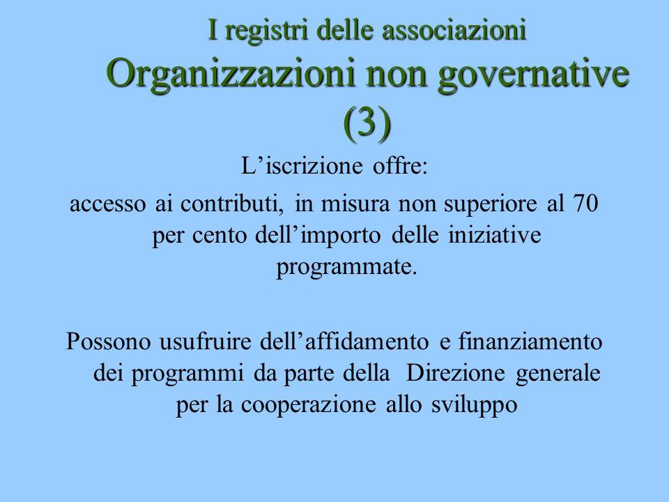I registri delle associazioni Organizzazioni non governative (3)