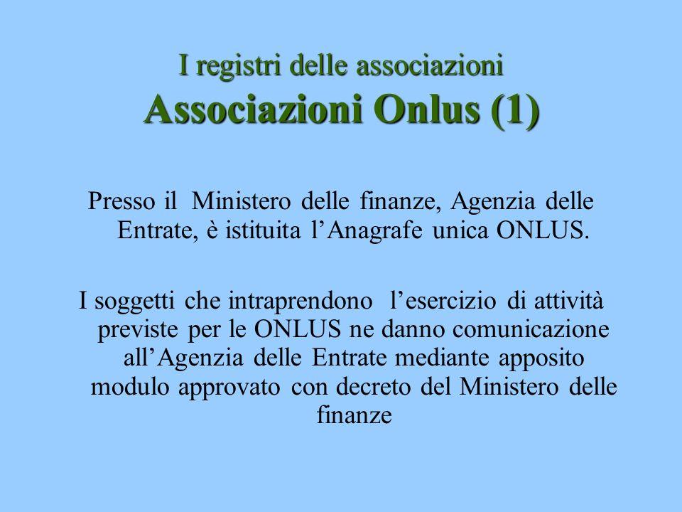 I registri delle associazioni Associazioni Onlus (1)
