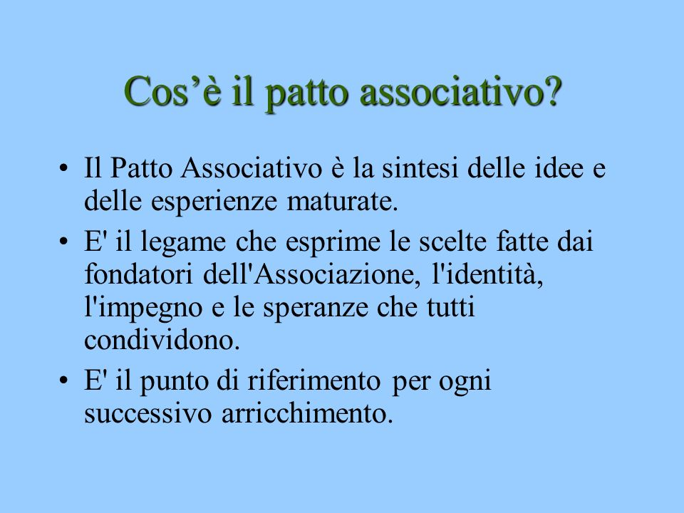 Cos'è il patto associativo