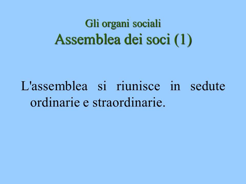 Gli organi sociali Assemblea dei soci (1)