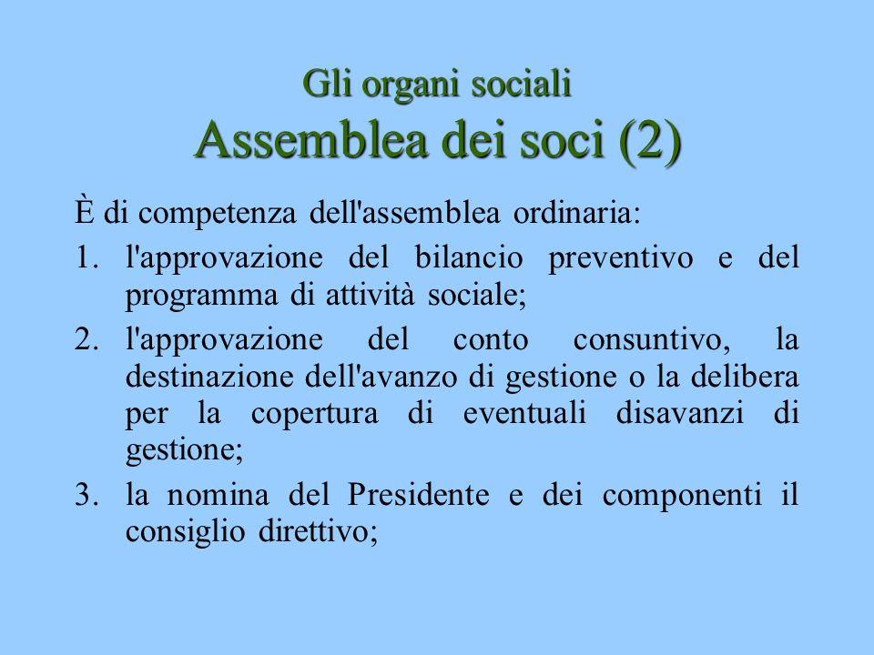 Gli organi sociali Assemblea dei soci (2)