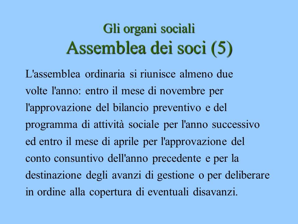 Gli organi sociali Assemblea dei soci (5)