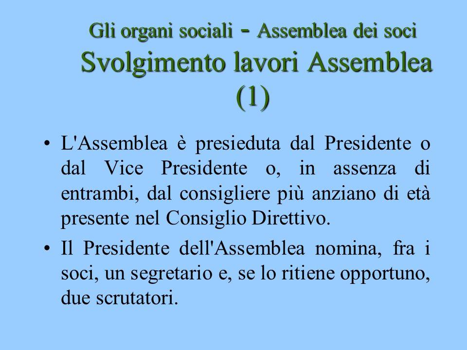 Gli organi sociali - Assemblea dei soci Svolgimento lavori Assemblea (1)