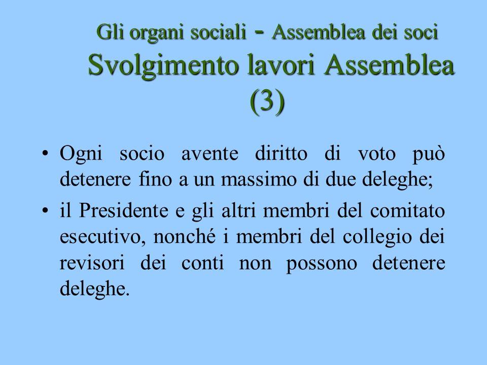 Gli organi sociali - Assemblea dei soci Svolgimento lavori Assemblea (3)