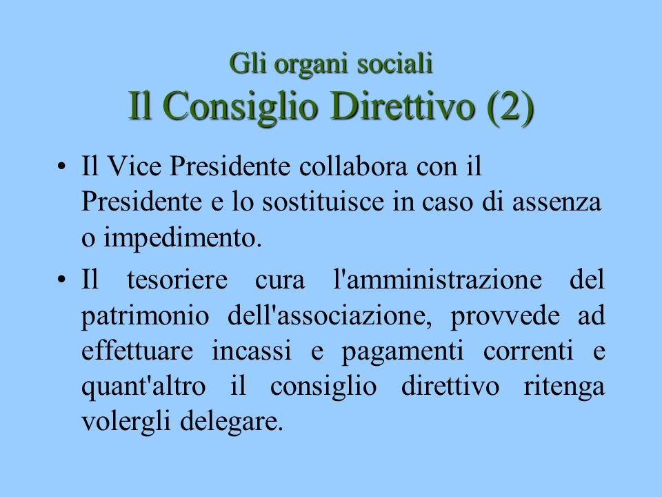 Gli organi sociali Il Consiglio Direttivo (2)
