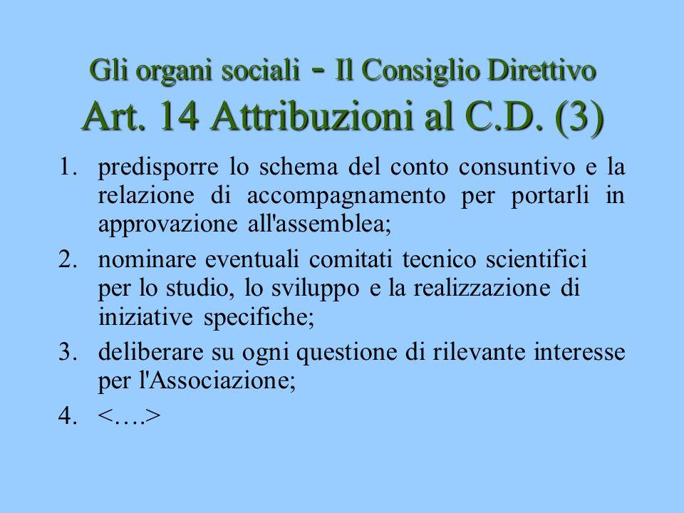 Gli organi sociali - Il Consiglio Direttivo Art. 14 Attribuzioni al C