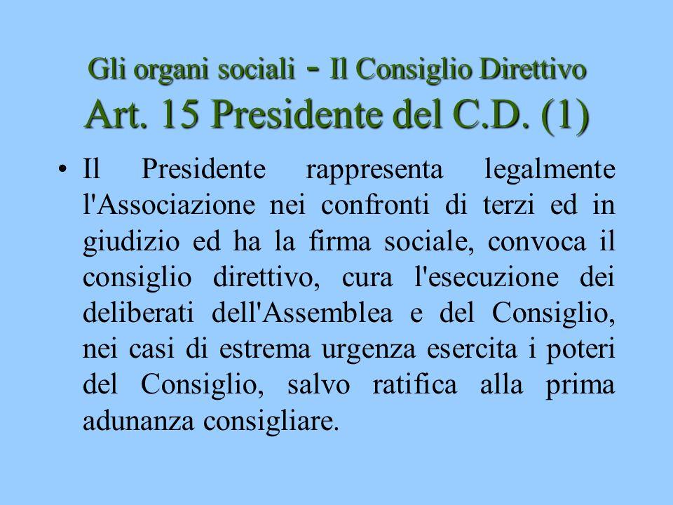Gli organi sociali - Il Consiglio Direttivo Art. 15 Presidente del C.D. (1)