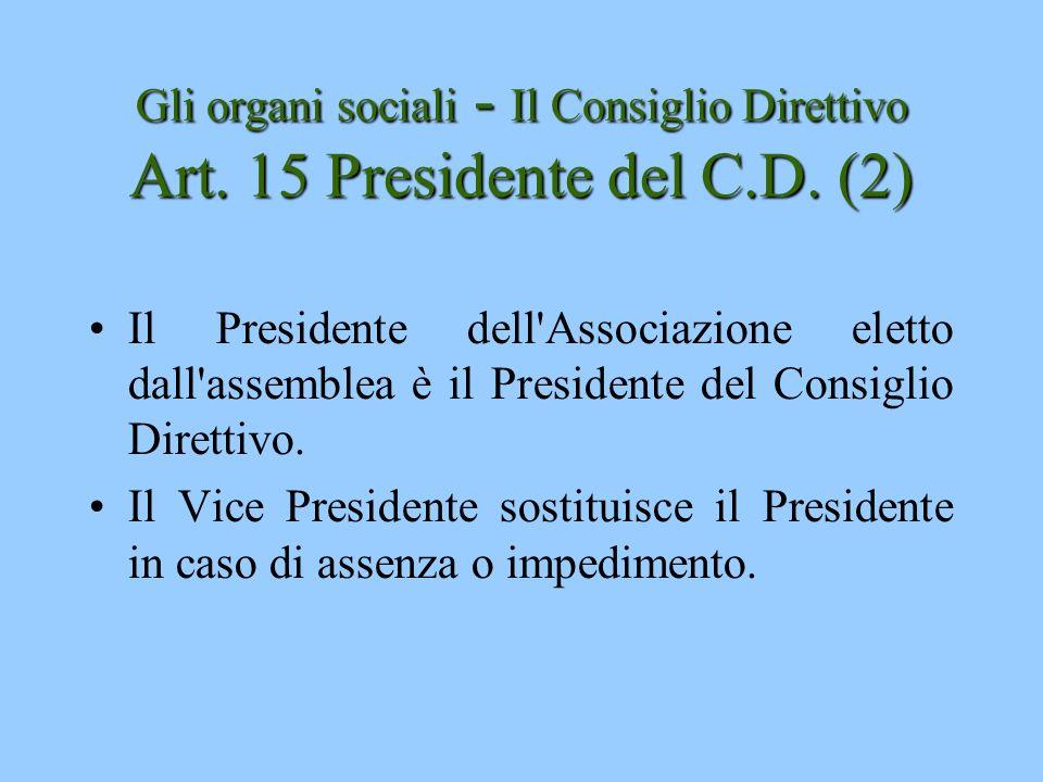 Gli organi sociali - Il Consiglio Direttivo Art. 15 Presidente del C.D. (2)