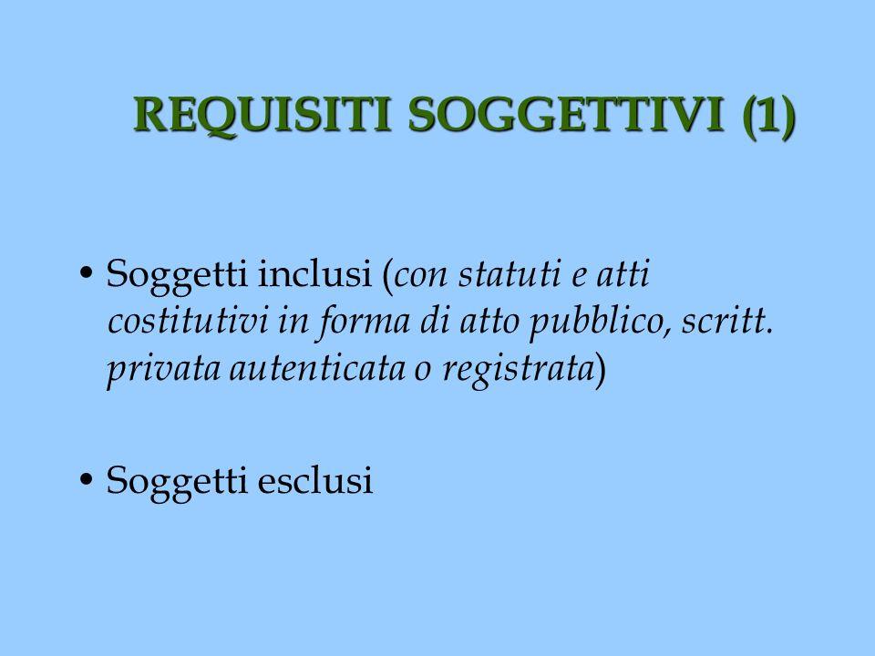 REQUISITI SOGGETTIVI (1)
