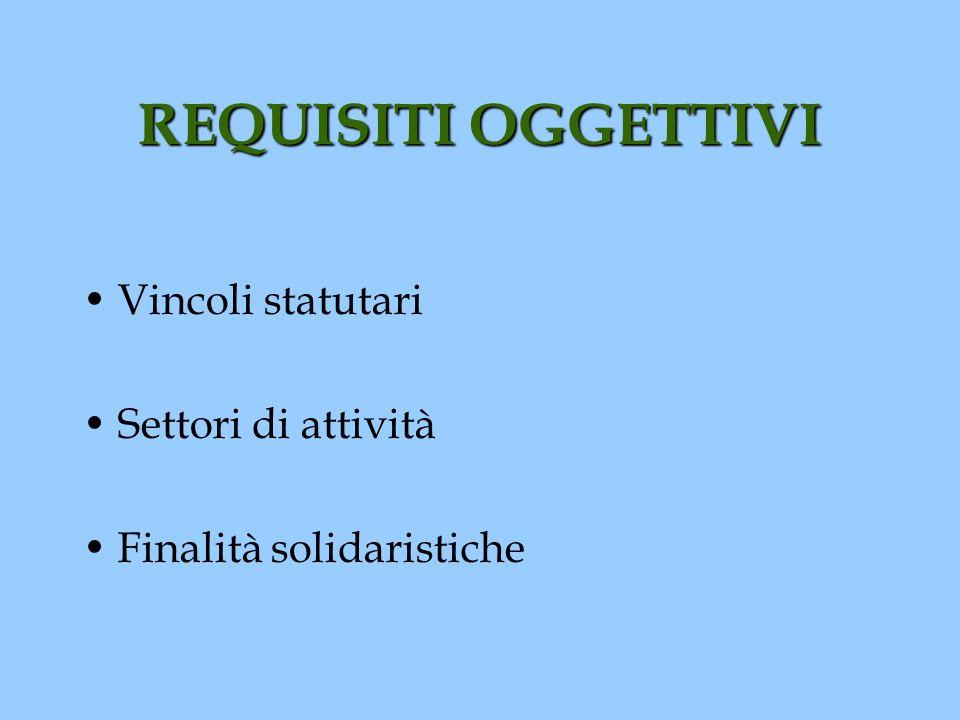 REQUISITI OGGETTIVI Vincoli statutari Settori di attività