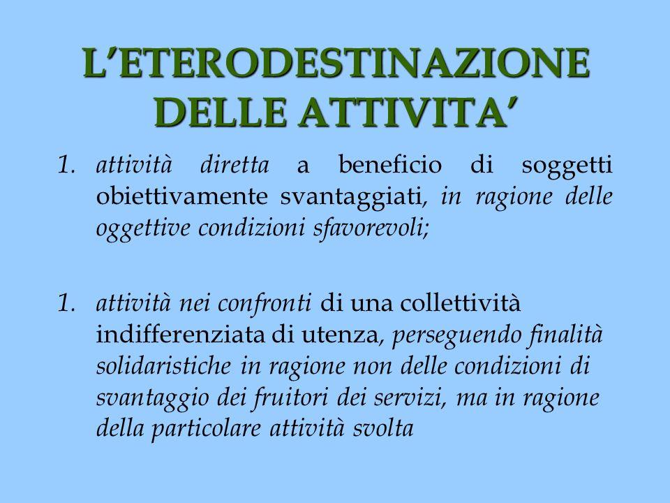 L'ETERODESTINAZIONE DELLE ATTIVITA'