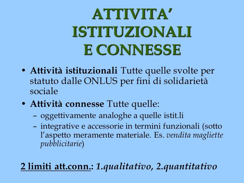 ATTIVITA' ISTITUZIONALI E CONNESSE