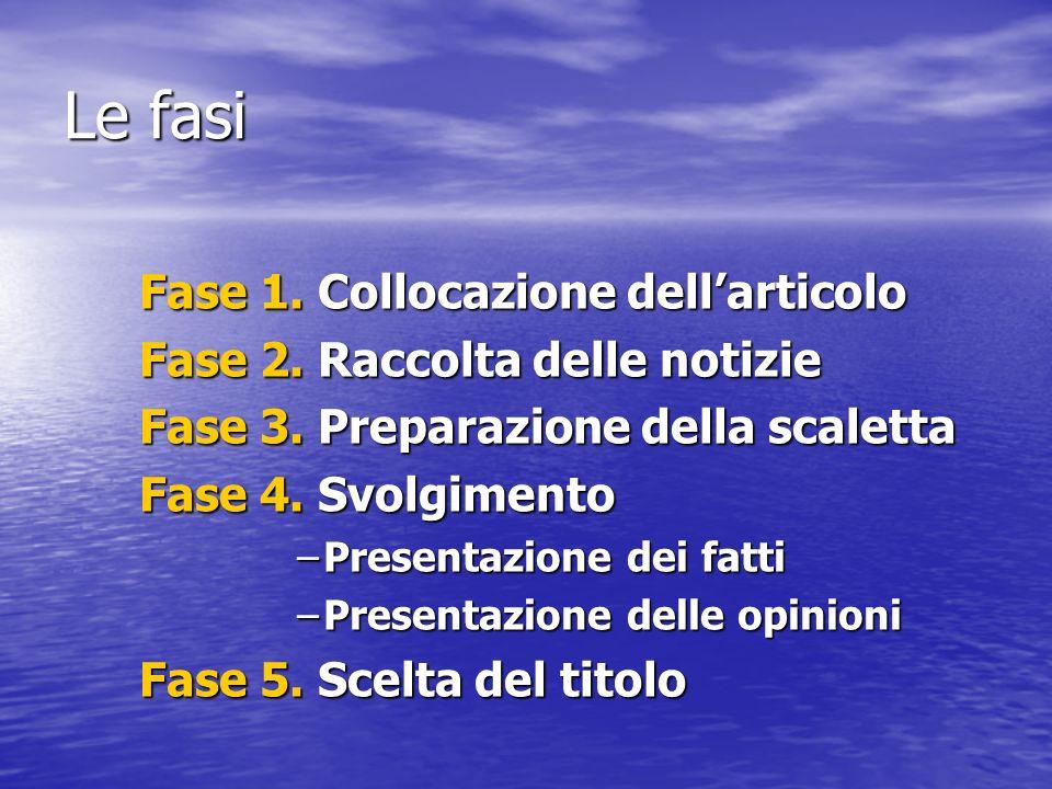 Le fasi Fase 1. Collocazione dell'articolo