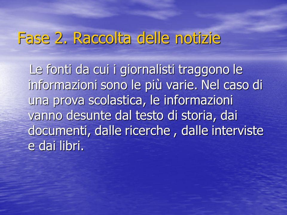 Fase 2. Raccolta delle notizie