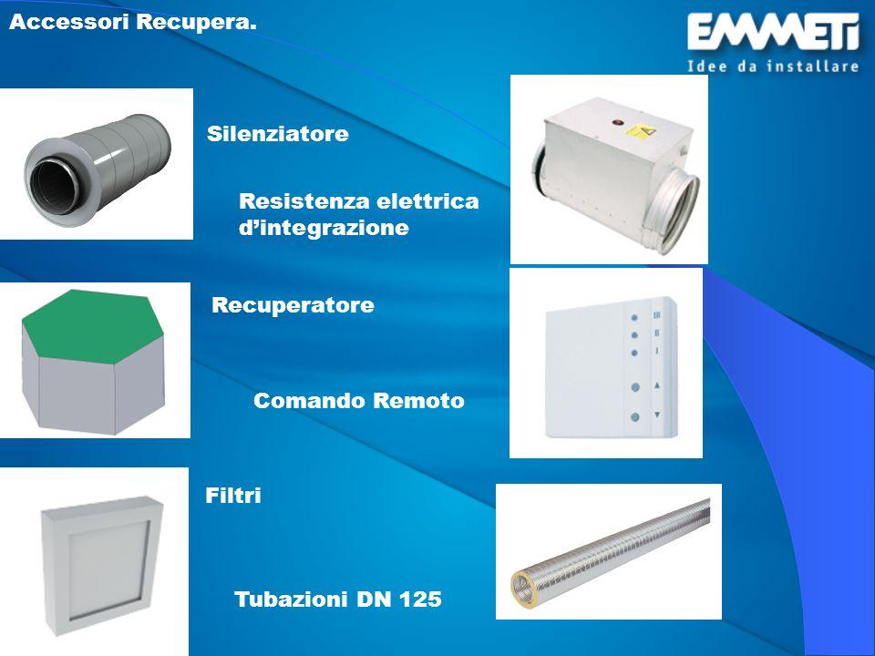 Accessori Recupera. Silenziatore. Resistenza elettrica d'integrazione. Recuperatore. Comando Remoto.