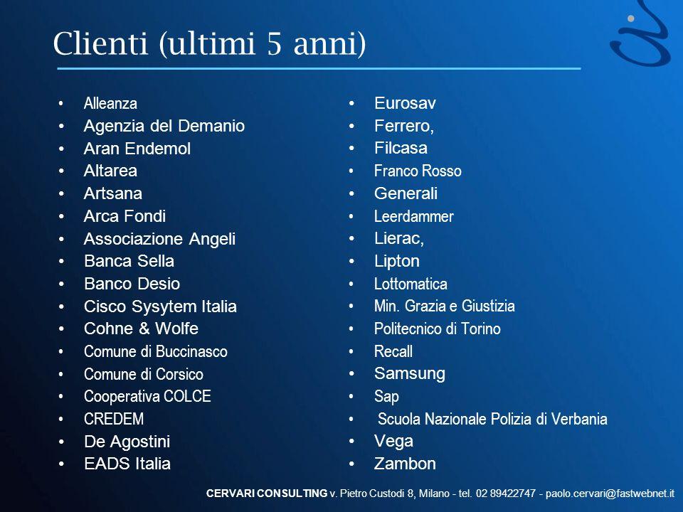 Clienti (ultimi 5 anni) Eurosav Ferrero, Filcasa Franco Rosso Generali