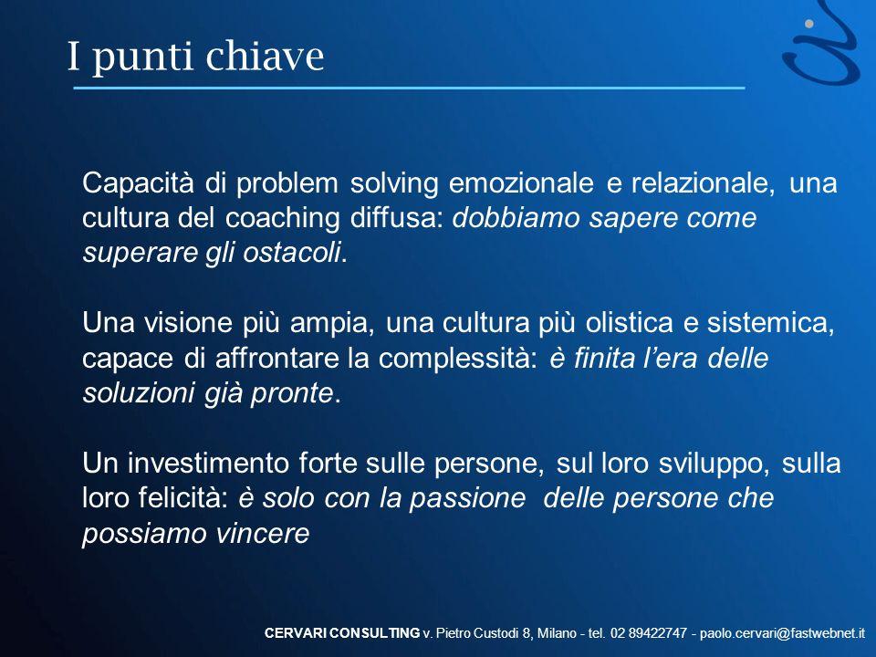 I punti chiave Capacità di problem solving emozionale e relazionale, una cultura del coaching diffusa: dobbiamo sapere come superare gli ostacoli.