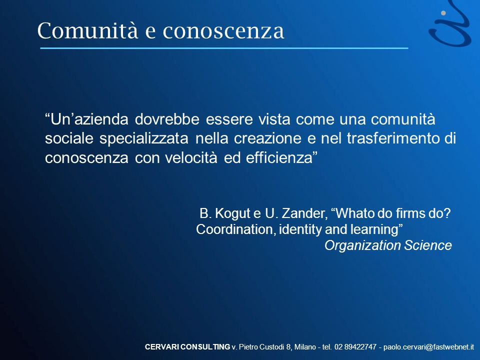 Comunità e conoscenza