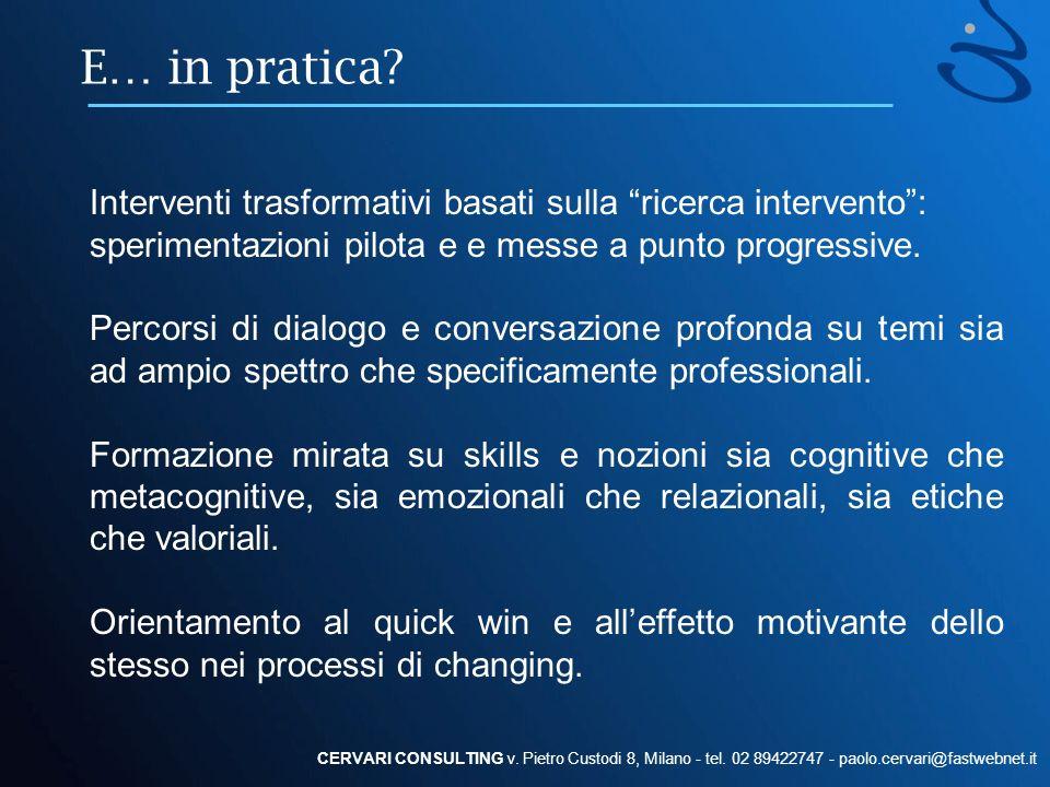 E… in pratica Interventi trasformativi basati sulla ricerca intervento : sperimentazioni pilota e e messe a punto progressive.