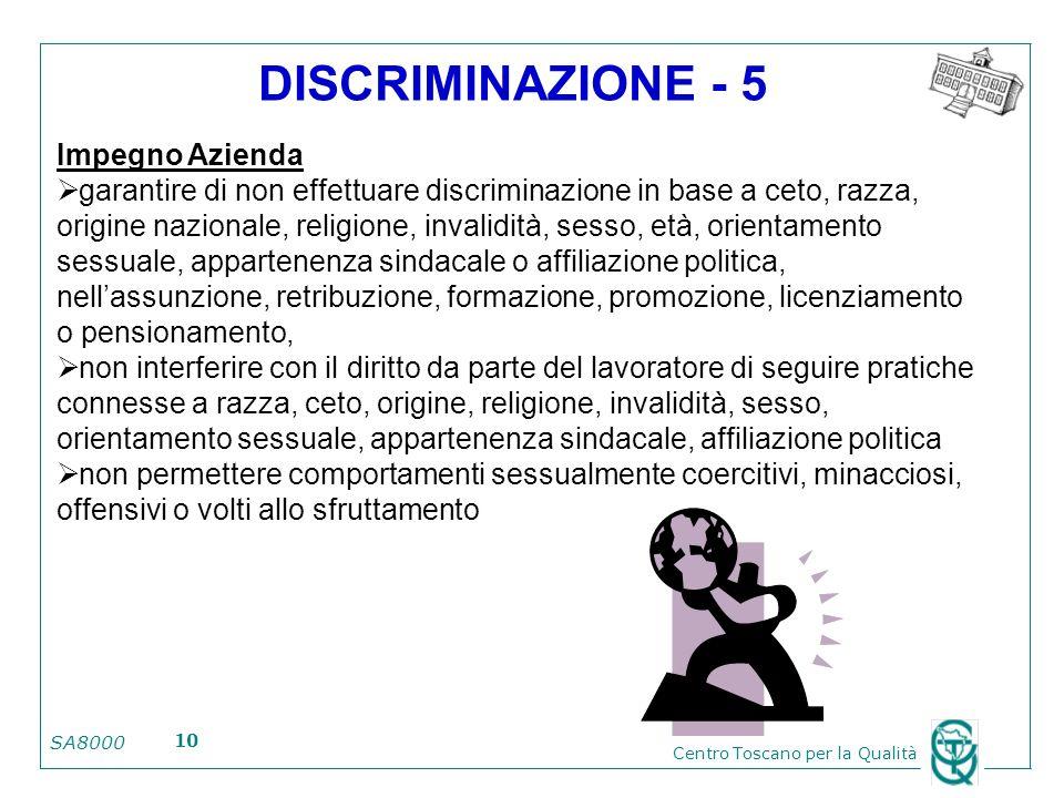 DISCRIMINAZIONE - 5 Impegno Azienda