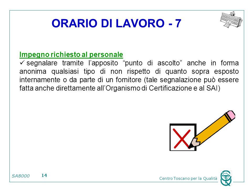 ORARIO DI LAVORO - 7 Impegno richiesto al personale