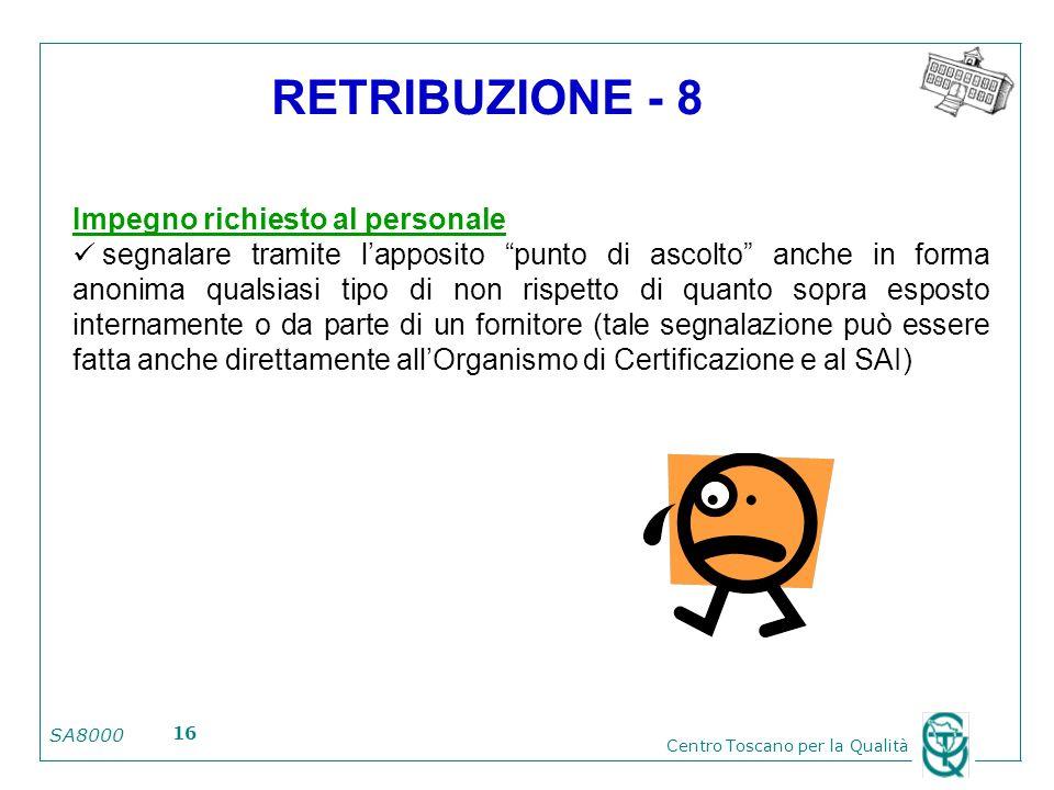 RETRIBUZIONE - 8 Impegno richiesto al personale