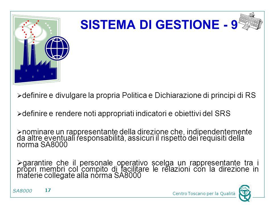 SISTEMA DI GESTIONE - 9 definire e divulgare la propria Politica e Dichiarazione di principi di RS.