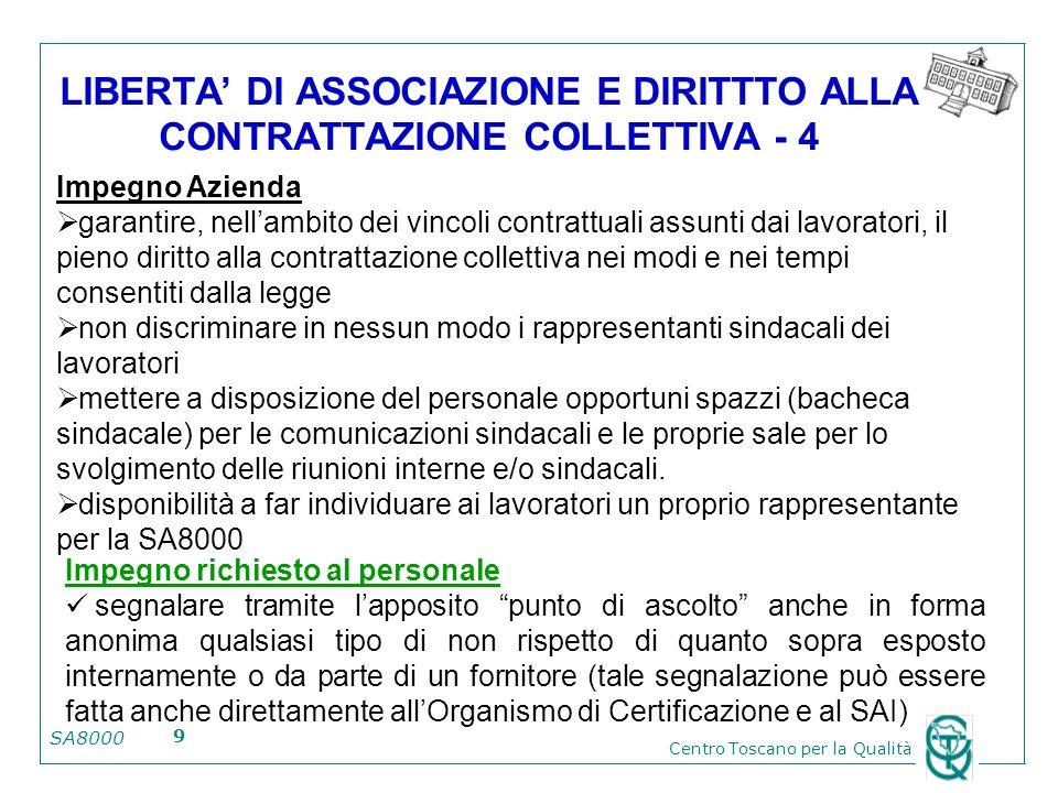 LIBERTA' DI ASSOCIAZIONE E DIRITTTO ALLA CONTRATTAZIONE COLLETTIVA - 4