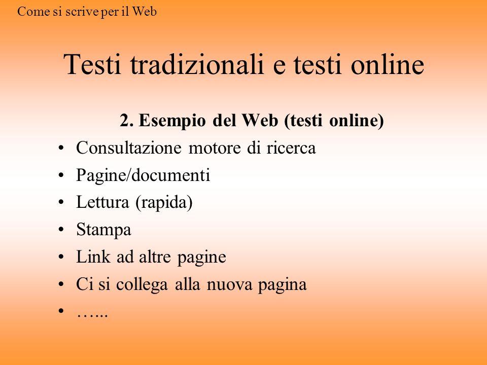 Testi tradizionali e testi online