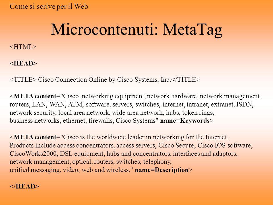 Microcontenuti: MetaTag
