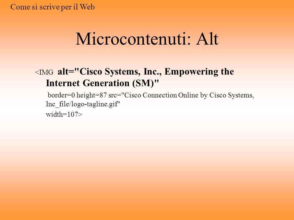 Microcontenuti: Alt Come si scrive per il Web