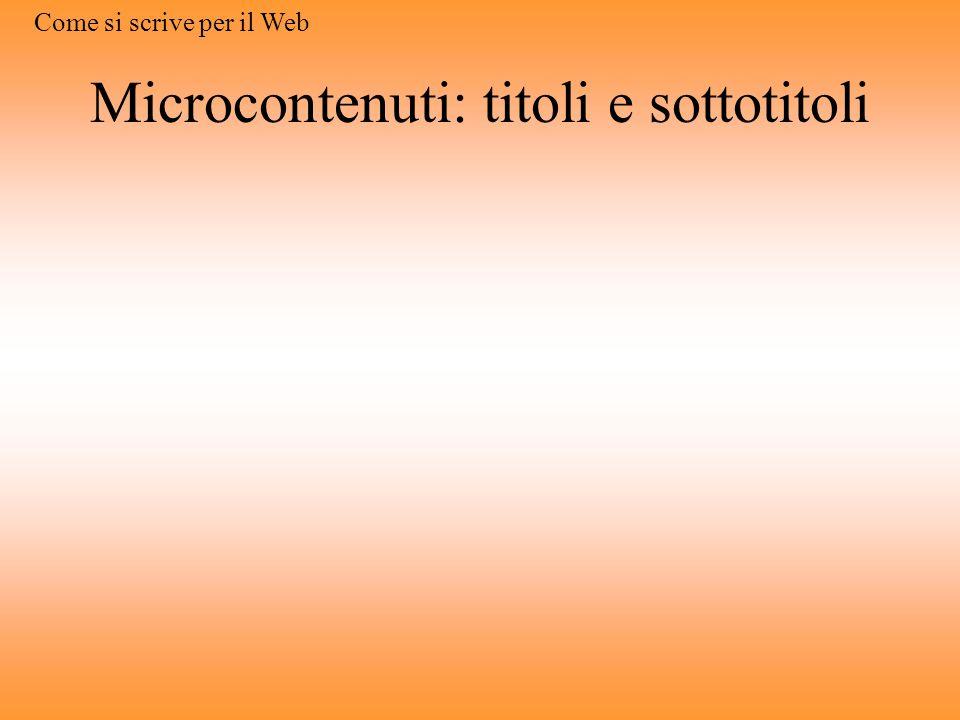 Microcontenuti: titoli e sottotitoli