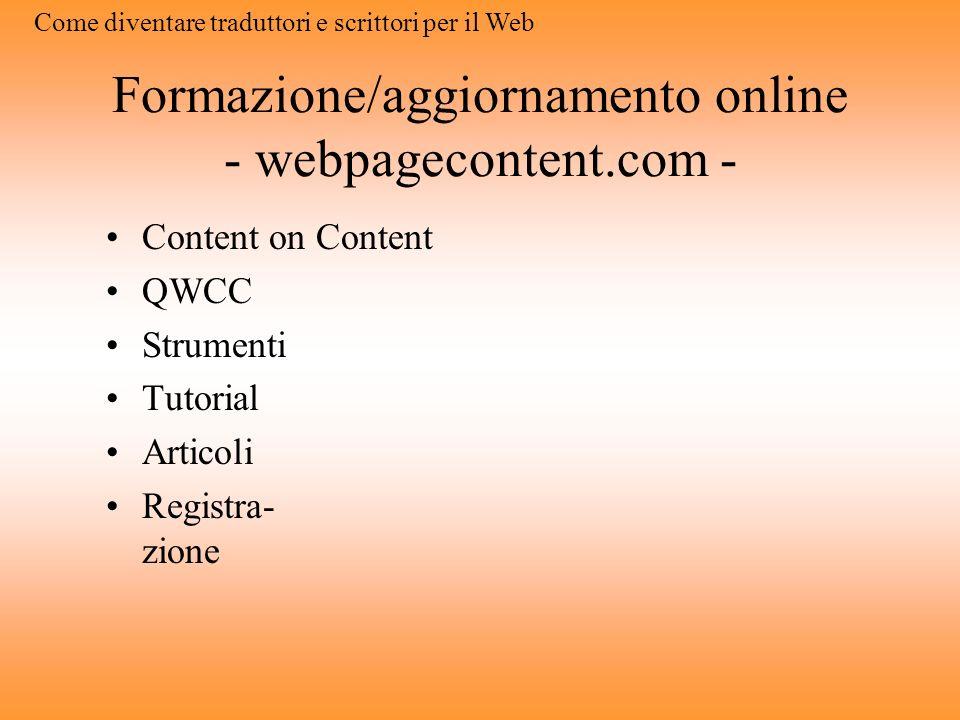 Formazione/aggiornamento online - webpagecontent.com -