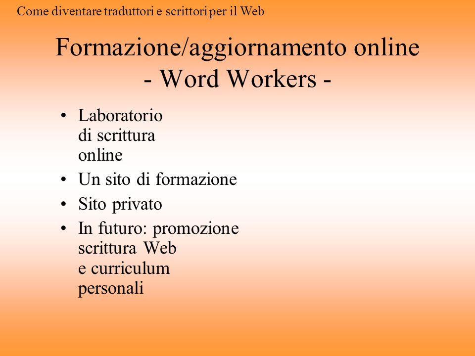 Formazione/aggiornamento online - Word Workers -