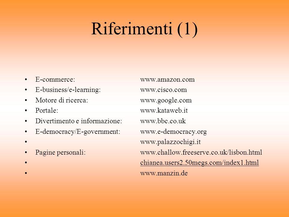 Riferimenti (1) E-commerce: www.amazon.com