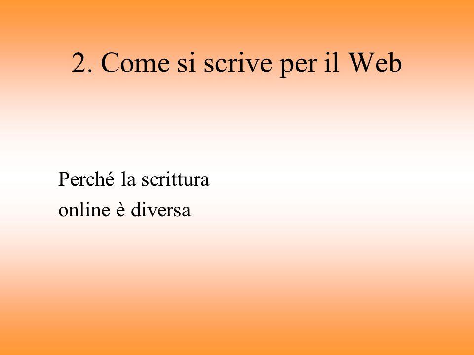 2. Come si scrive per il Web
