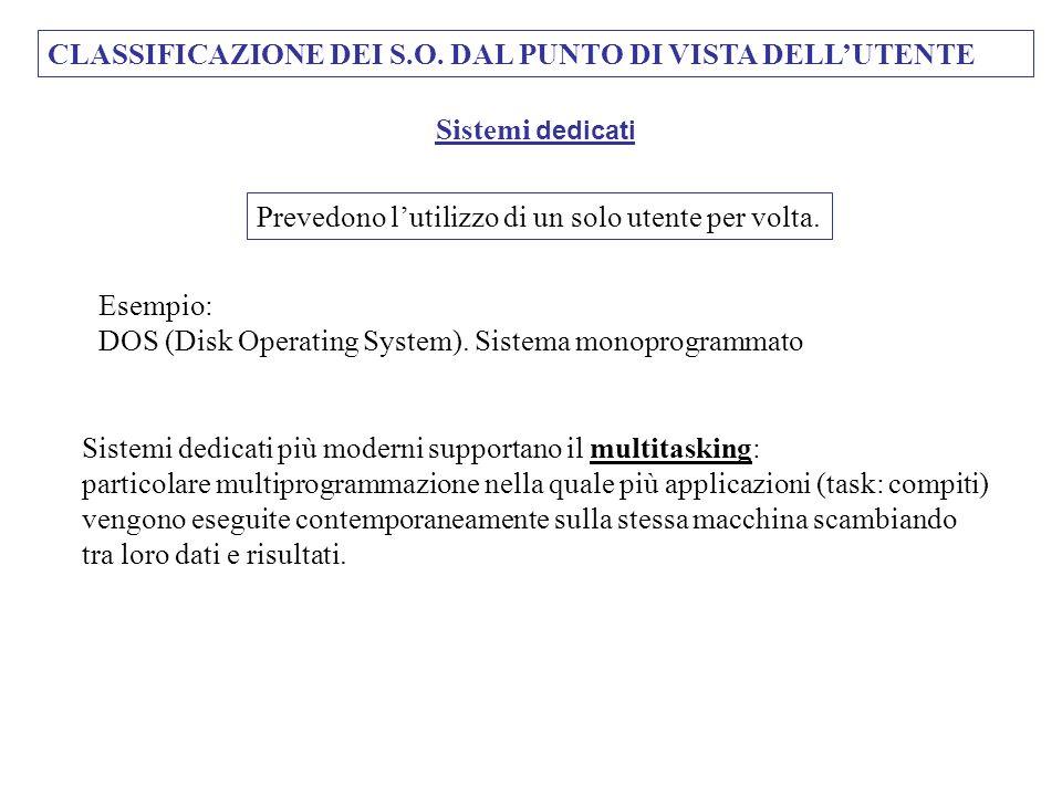 CLASSIFICAZIONE DEI S.O. DAL PUNTO DI VISTA DELL'UTENTE