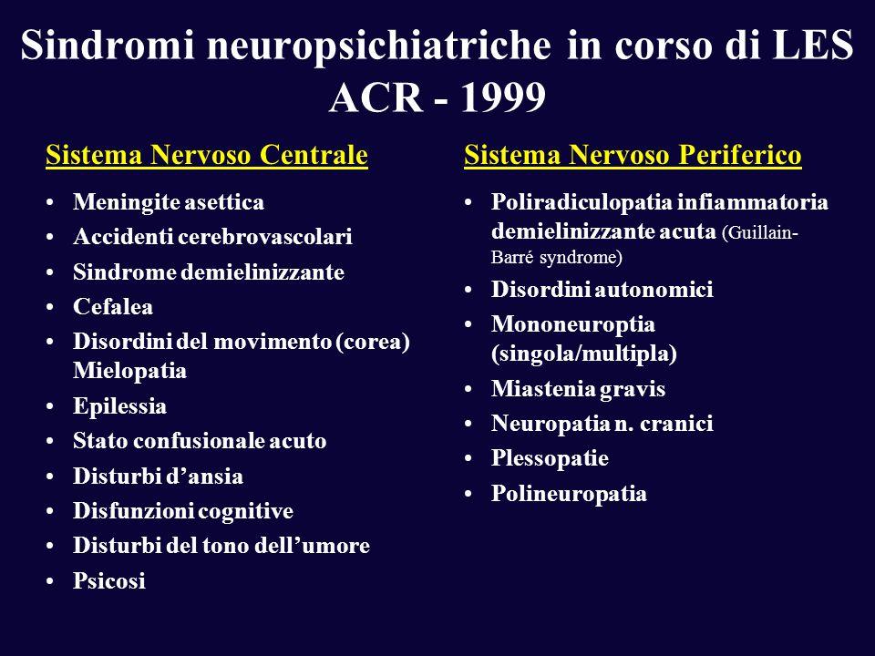 Sindromi neuropsichiatriche in corso di LES ACR - 1999