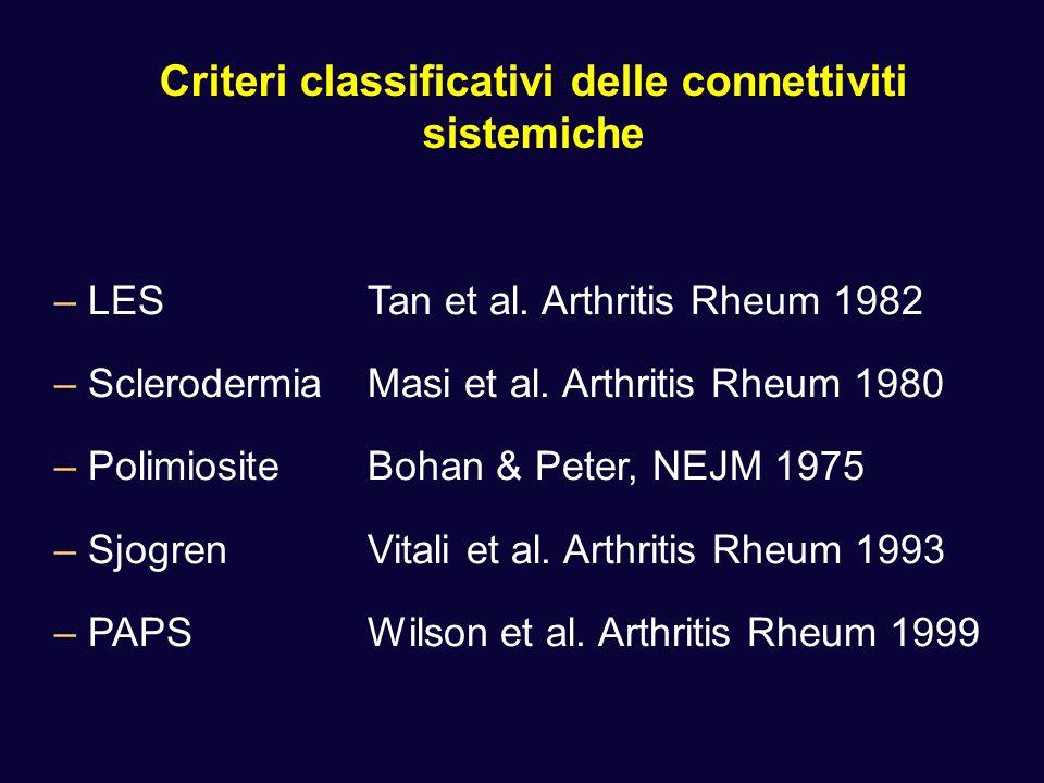 Criteri classificativi delle connettiviti sistemiche