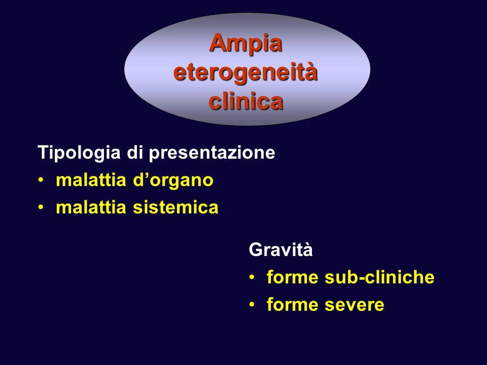 Ampia eterogeneità clinica