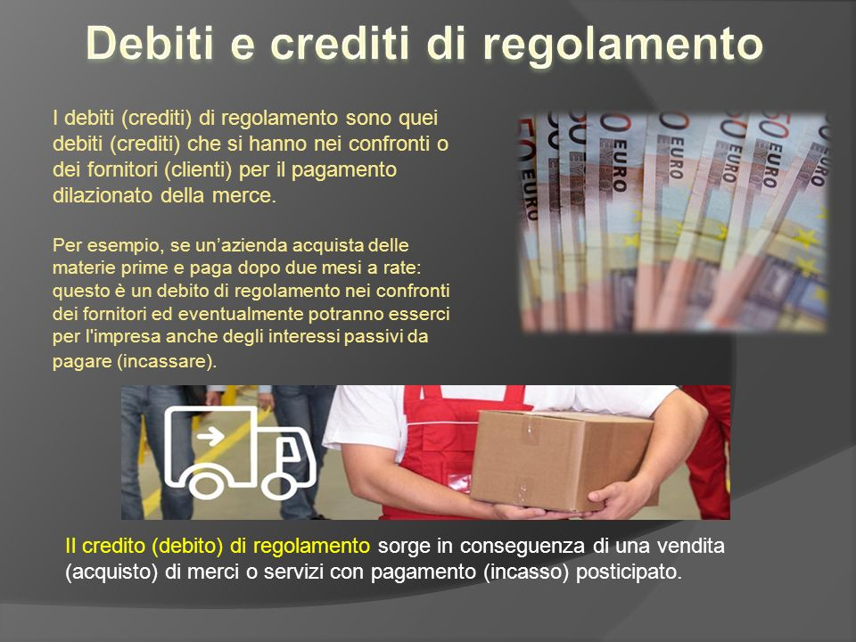 Debiti e crediti di regolamento